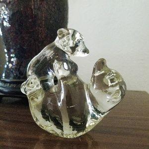 Mama Bear & Cub Glass Figurine